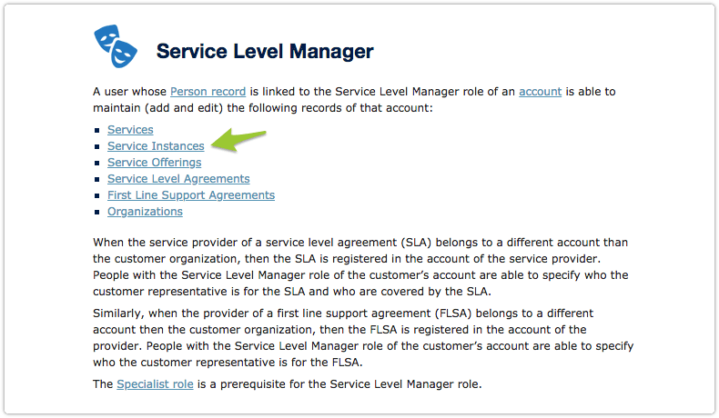 Service level manager role in online help