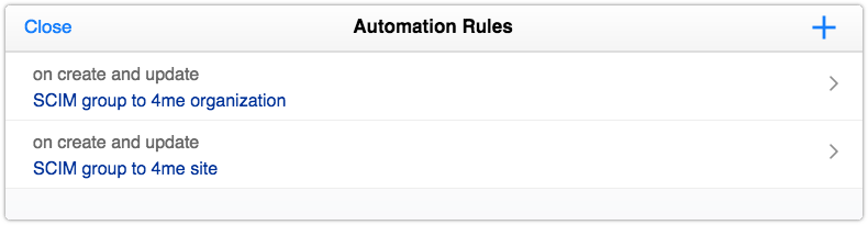 Automation rules for converting SCIM groups to 4me organizations and sites