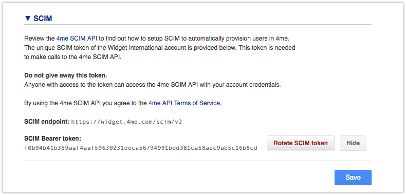 SCIM in Apps section of the 4me Settings console