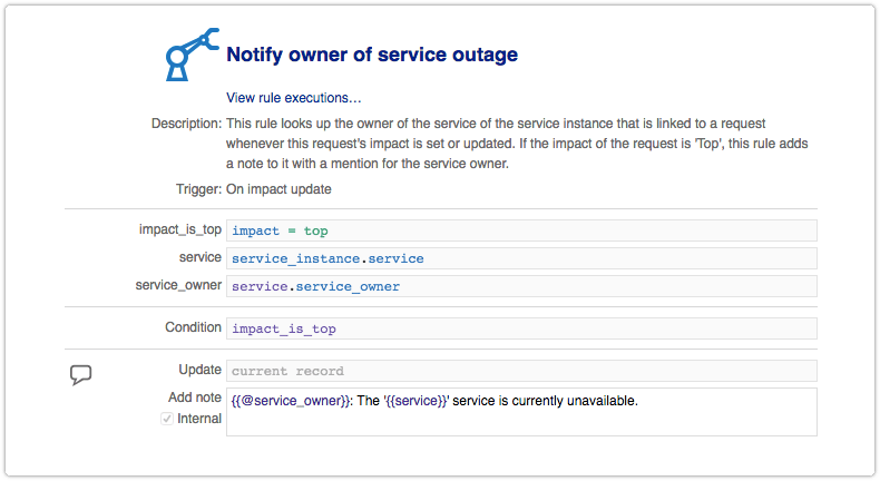 Automation rule to notify owner of service outage
