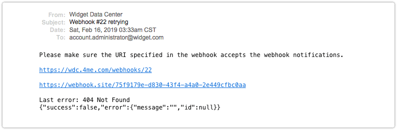 Service unable to accept webhook email notification