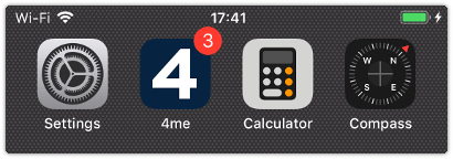 Smartphone home screen with the 4me App showing new notifications