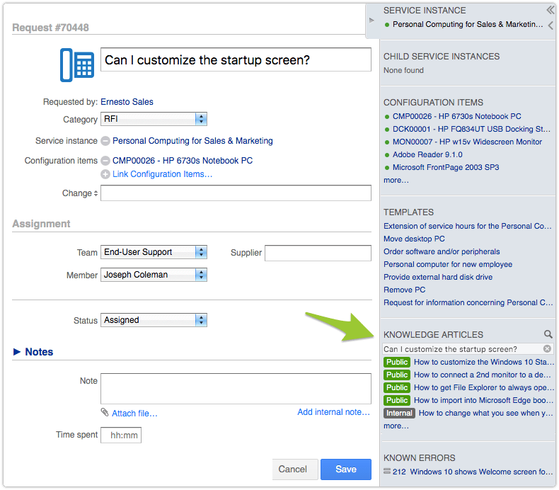 Request in Edit mode with knowledge article suggestions in SHB