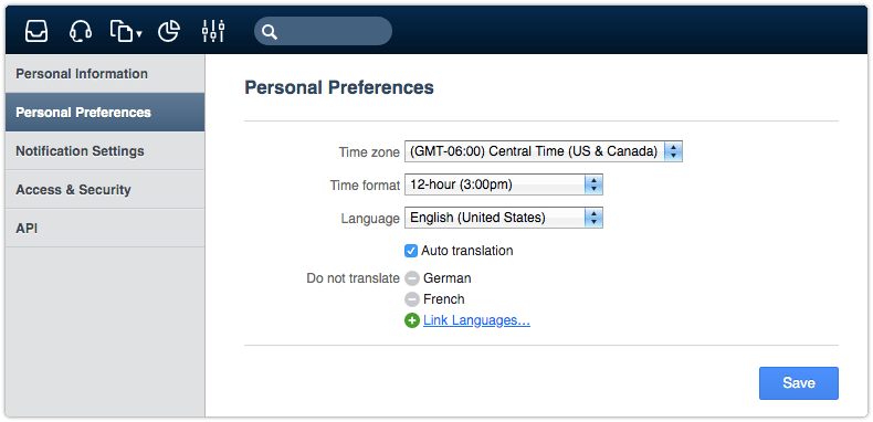 Auto Translation option in Personal Preferences