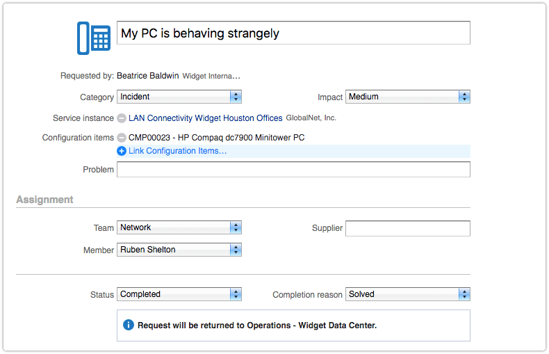 Request with mandatory Configuration items field