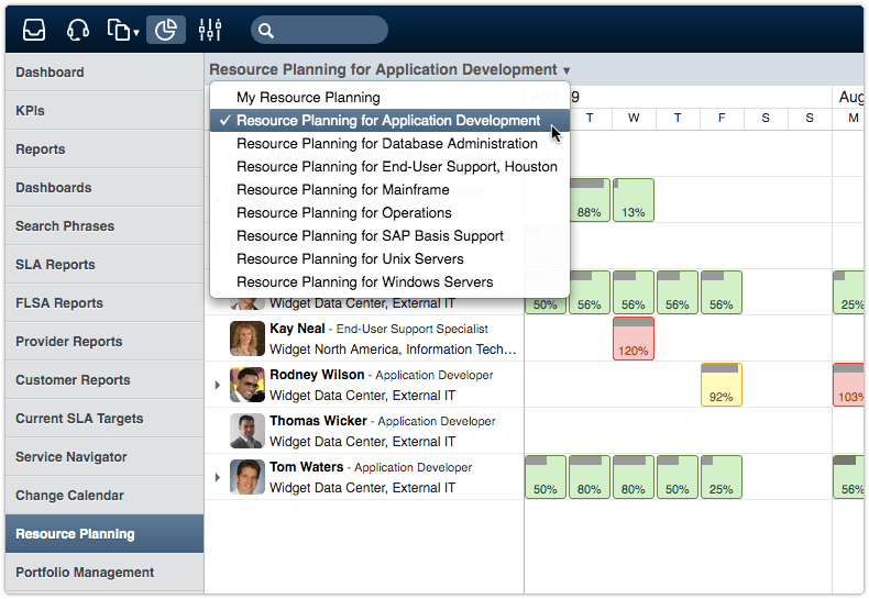 Resource planning in 4me for a team