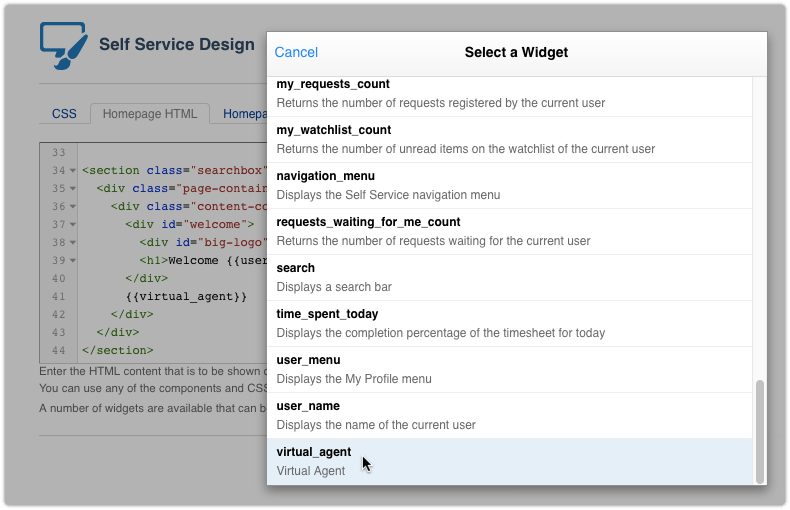 Adding the virtual agent to self service homepage-html