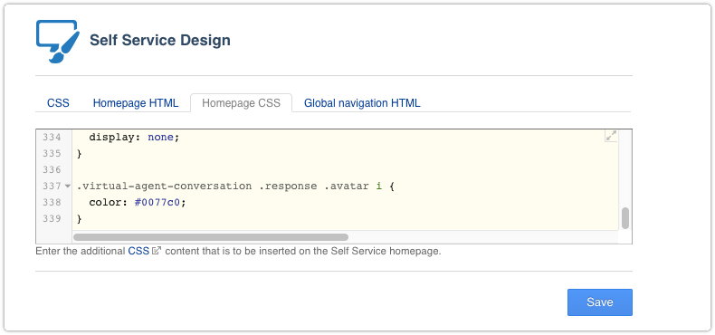 Styling virtual agent in homepage CSS