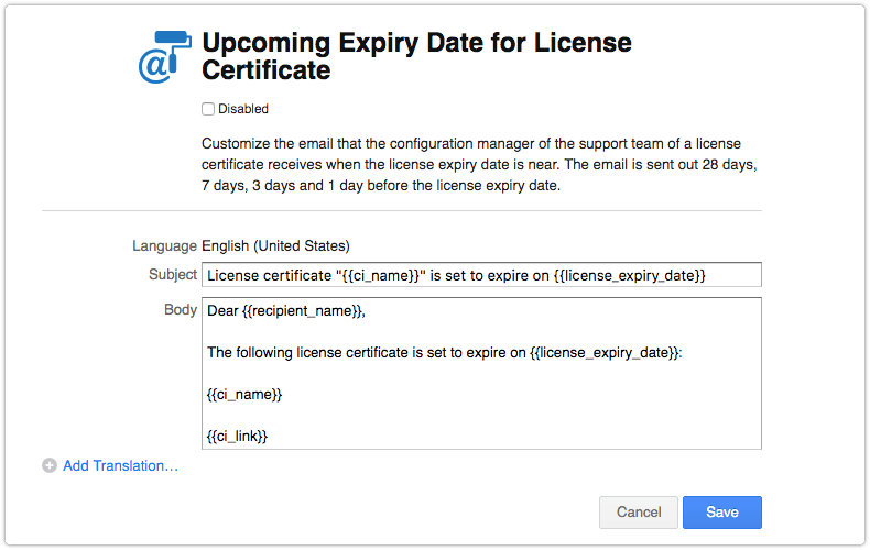 Upcoming expiry date for license certificate