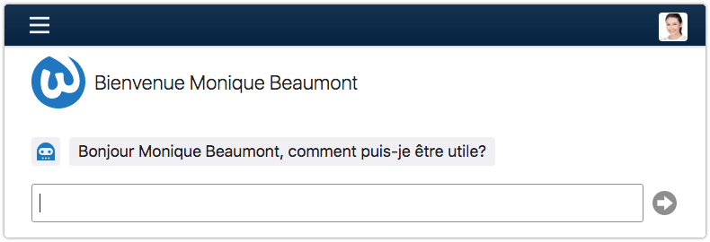 Virtual agent addresses user in French