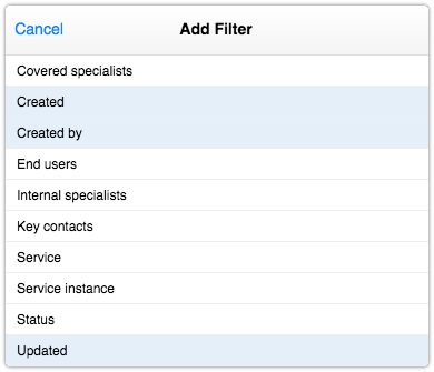 Knowledge article filters