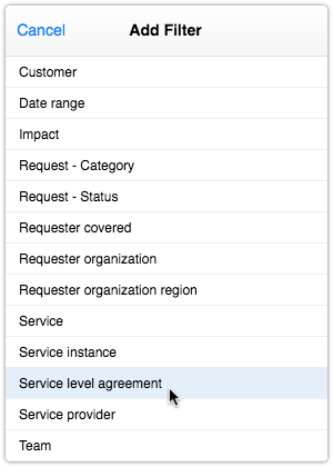 Service level agreement filter for SLA reports
