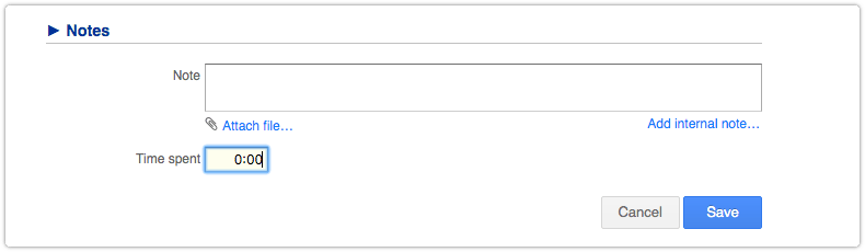 Optional Note field of request with a zero value in the Time spent field
