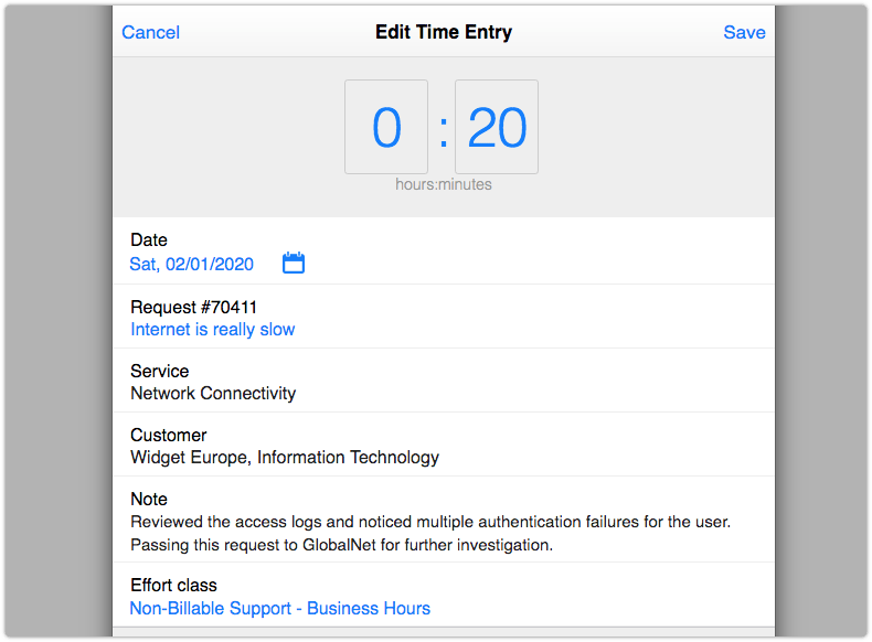 Time entry with a related note