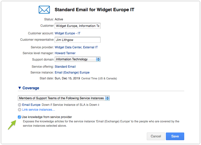 Email SLA from shared service center with the option Use knowledge from service provider activated