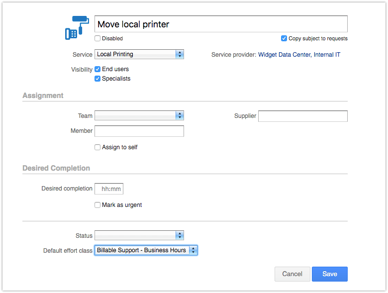 Request template in Edit mode with the Default effort class field