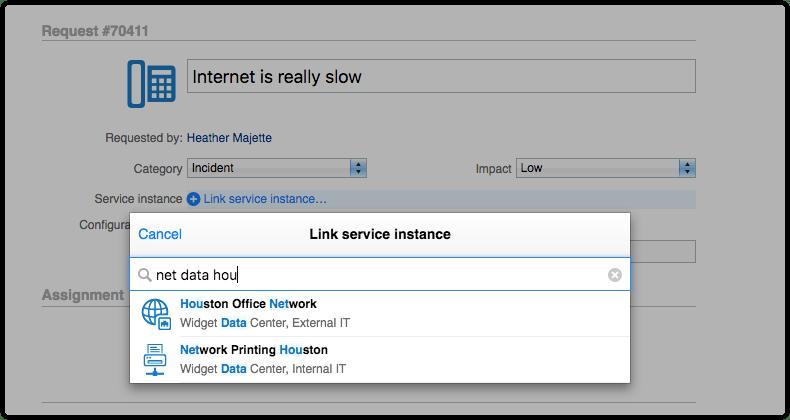 Filtered list of service instances