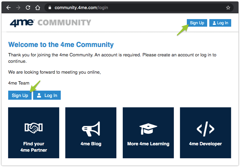 Sign Up page for the 4me Community