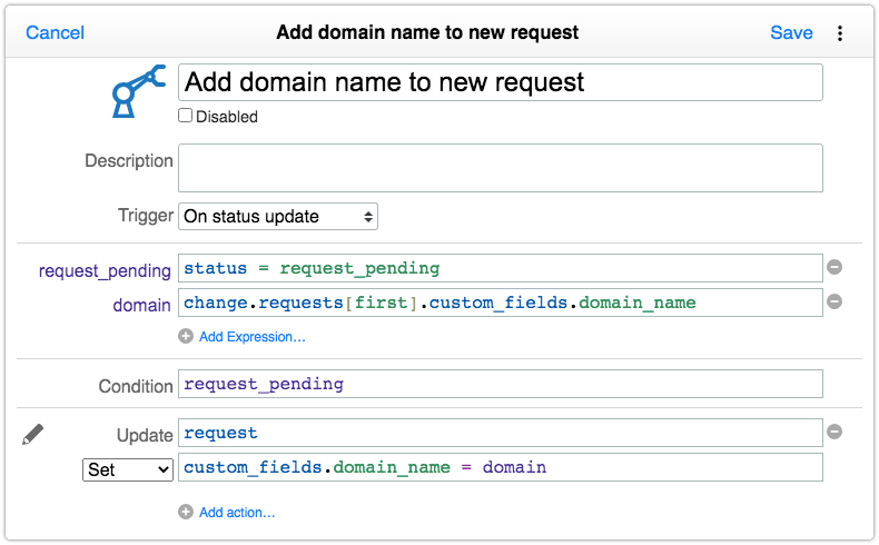 Automation rule for passing custom field value to a request generated by a task