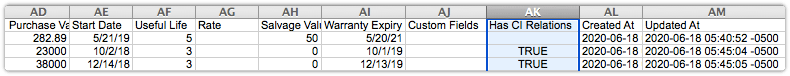 Configuration items export file with Has  CI Relations column