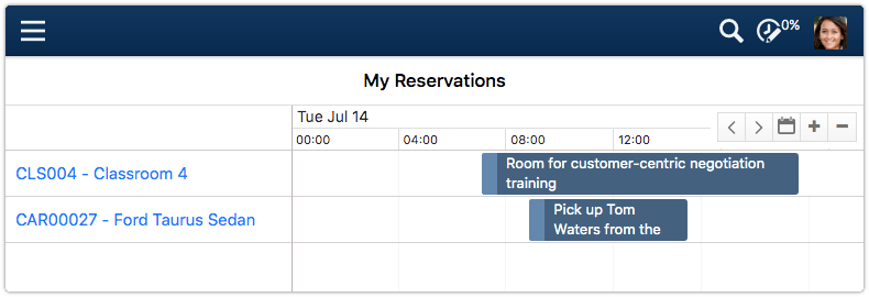My Reservations calendar in 4me Self Service