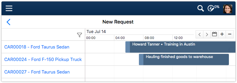 Reservations calendar after zooming in