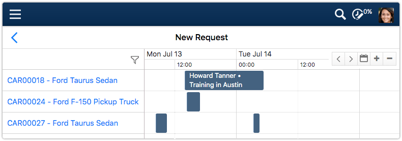 Reservations calendar showing available slots