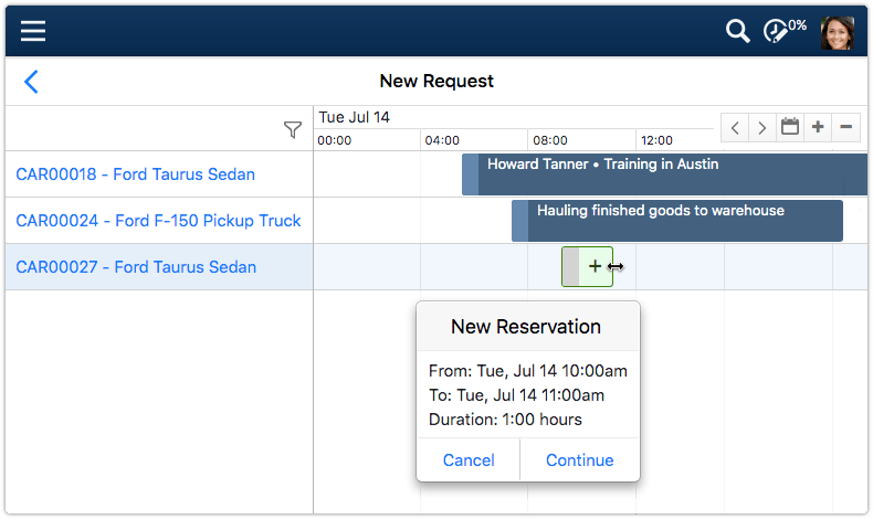 Reservations calendar with new reservation