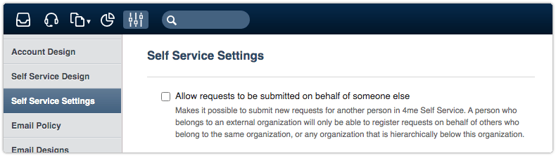 Self Service Settings - Allow requests to be submitted on behalf of someone else option