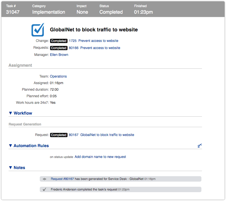 Task that generated a new request after status was updated to Completed