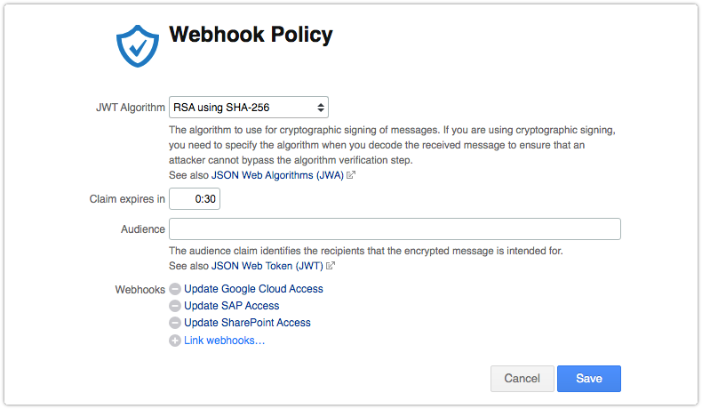 Webhook policy in Edit mode