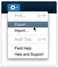Export option in Actions menu