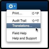 Actions menu option Translations