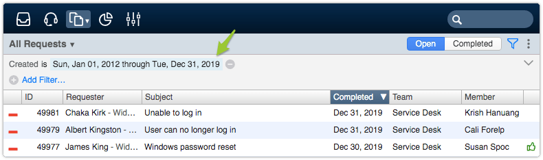 Completed Requests view filtered by long date range