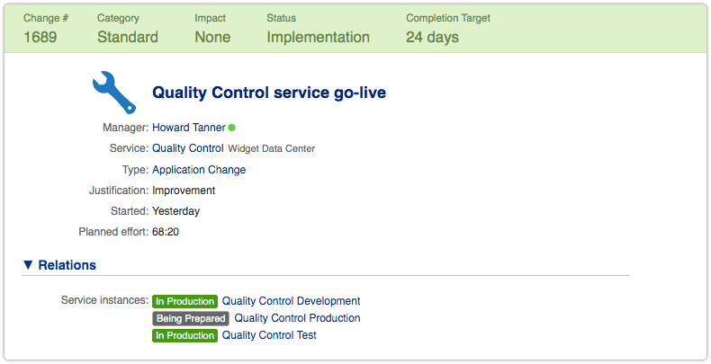 Service instance status visible in change relations section