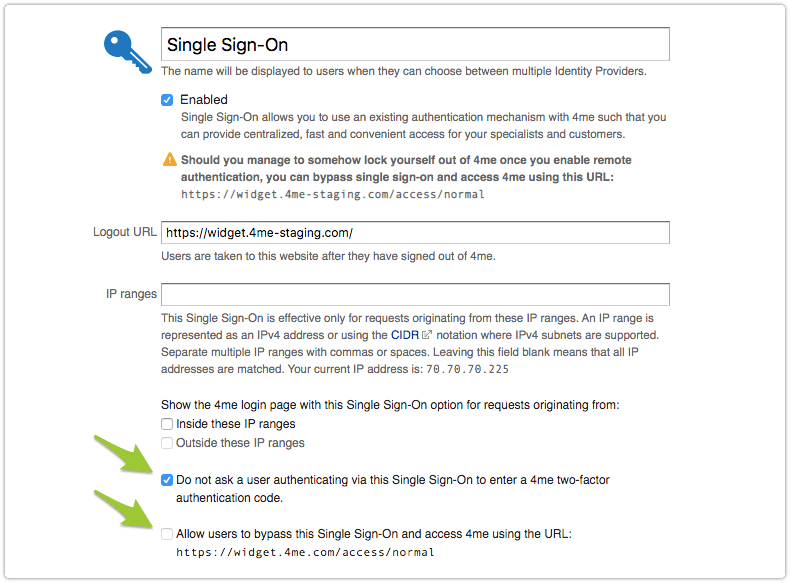 Single sign-on configuration options
