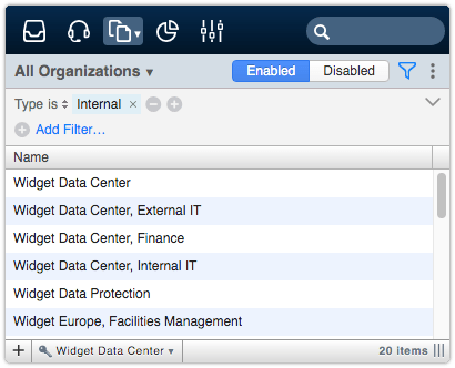All Organizations view filtered by type internal