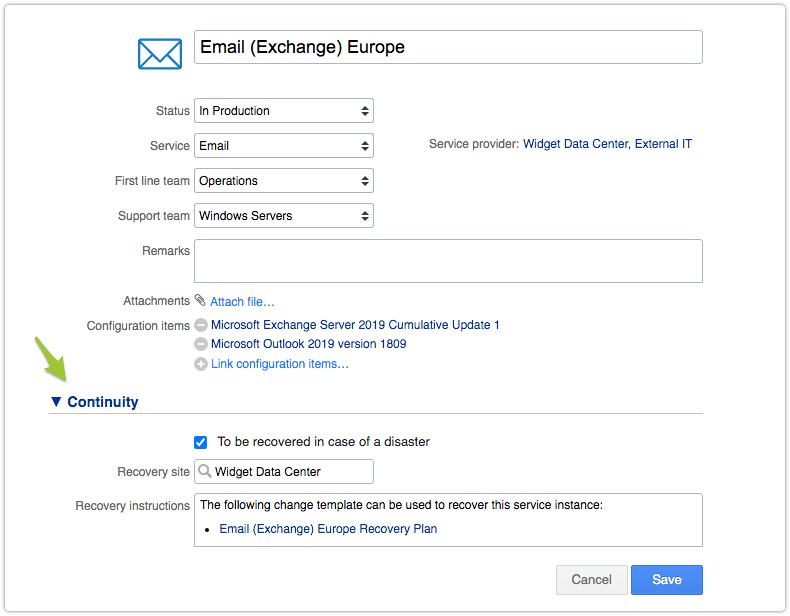 Service instance with UI extension custom fields
