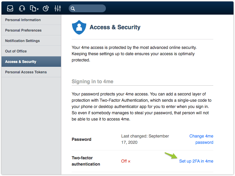 Access & Security section in Settings console