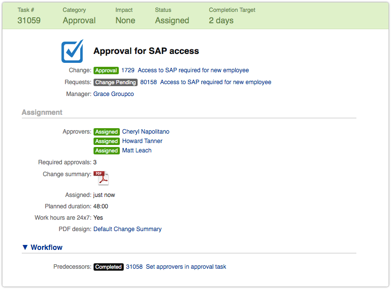 Approval task with approvers set by automation rule