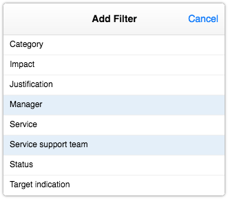 Change report filters