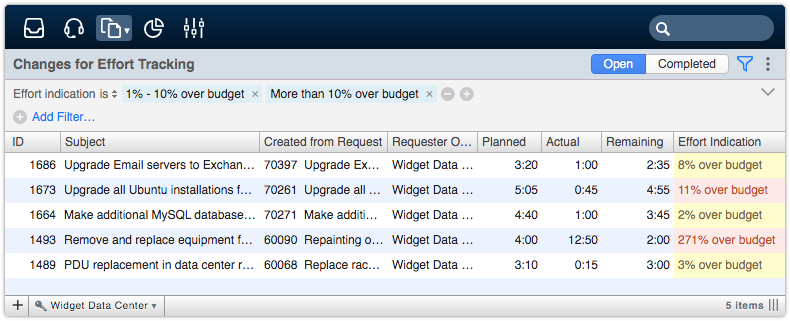 Changes for Effort Tracking drilldown view filtered