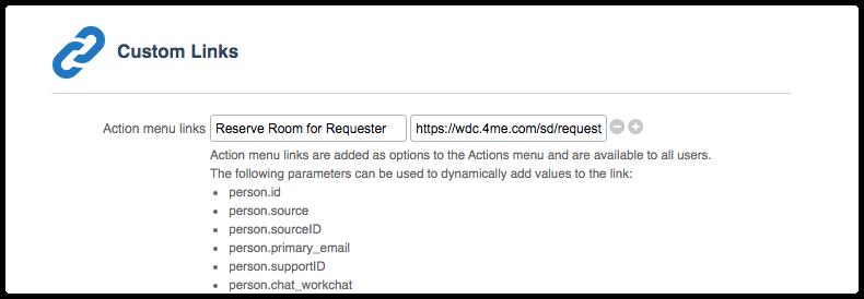 Custom link parameters