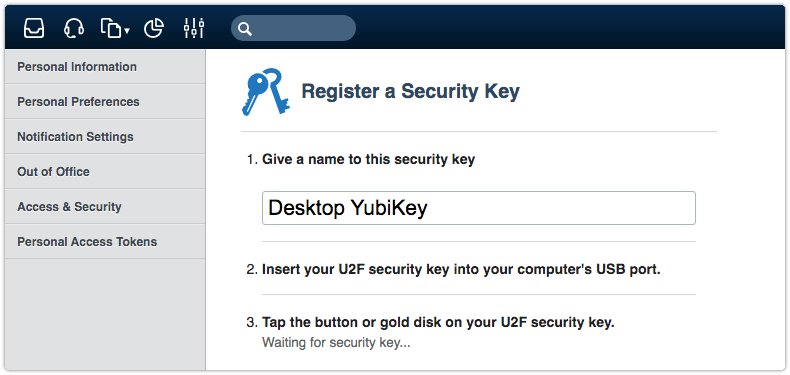 Guiding the security key registration