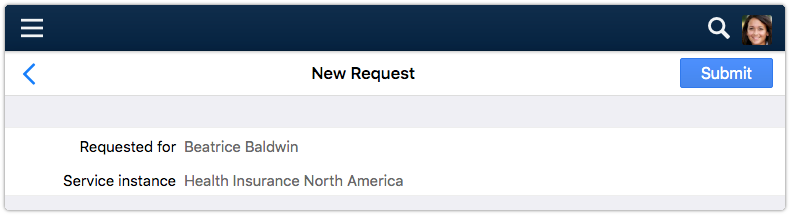 New request in 4me Self Service with submit button