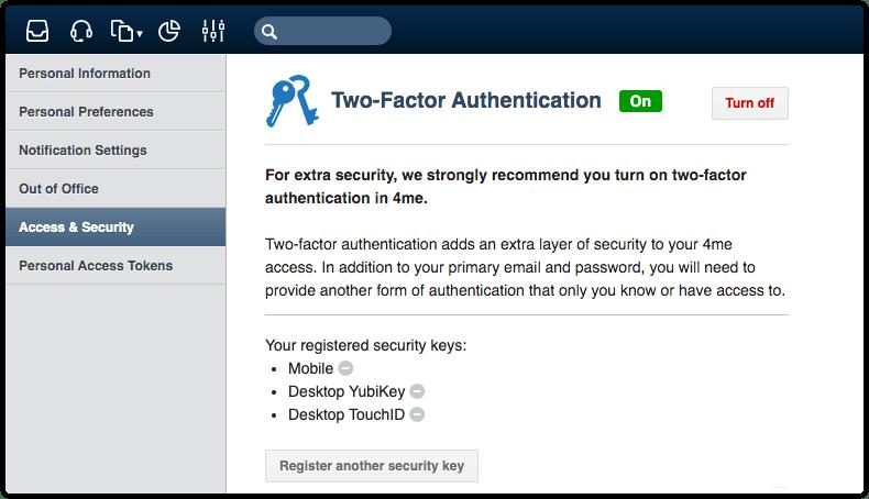 Registered security keys in 4me