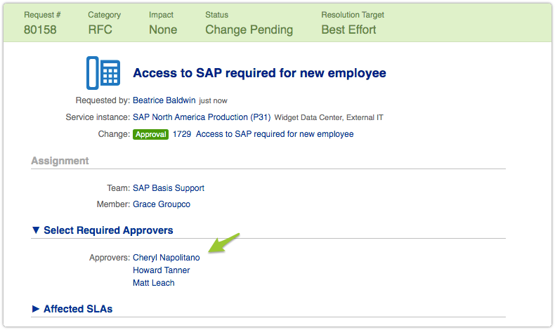 Request with approvers in multi value custom suggest field