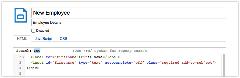 Search dialog at top of code field