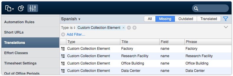 Translate custom collection elements