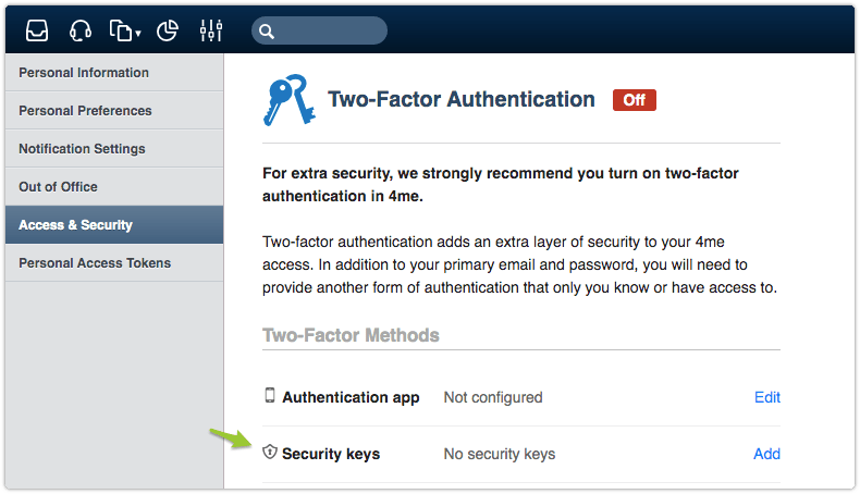 2-factor authentication set up in 4me